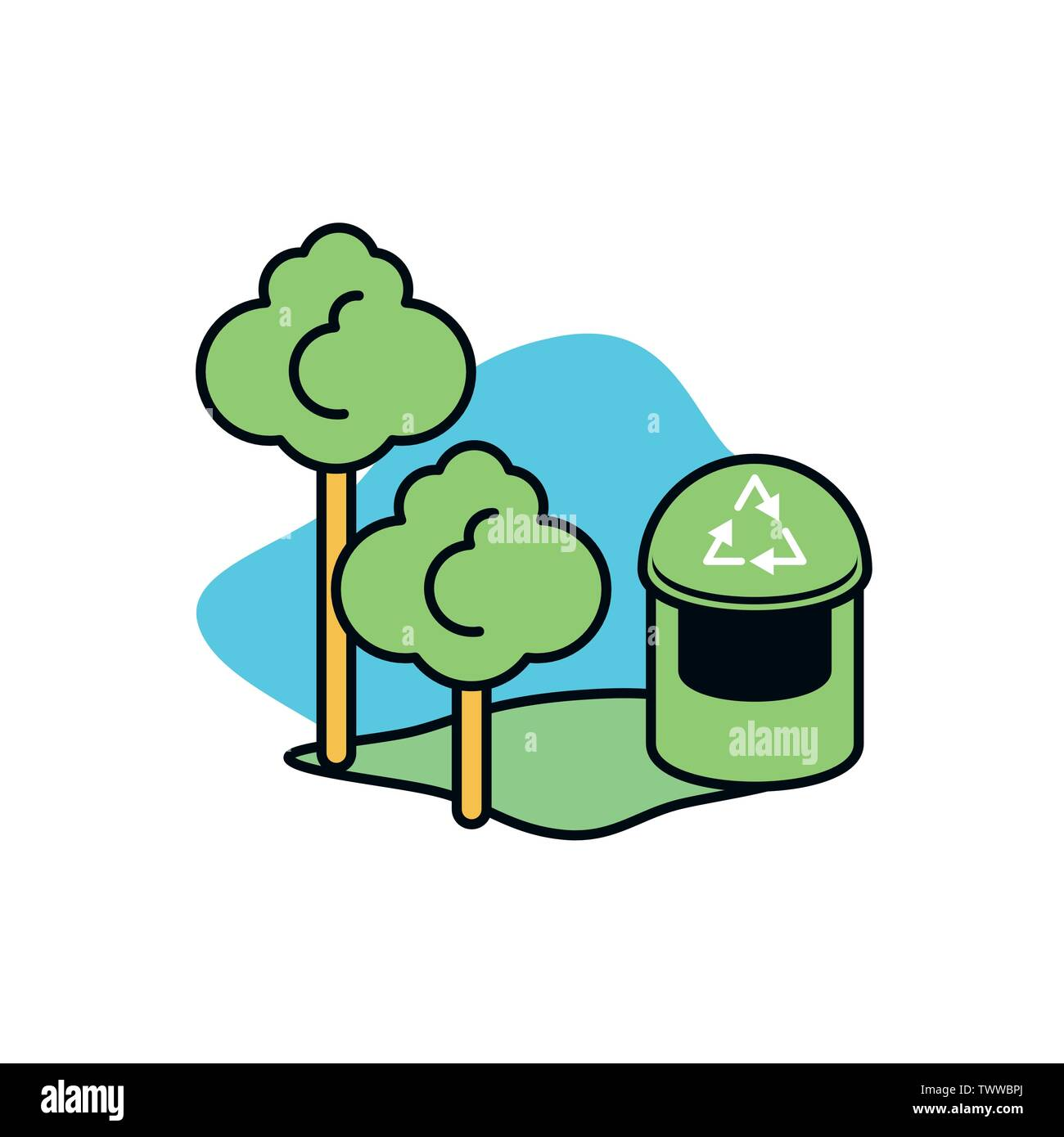 Corbeille conception, durabilité écologique et renouvelable écologie recyclage vert thème solution Vector illustration Photo Stock