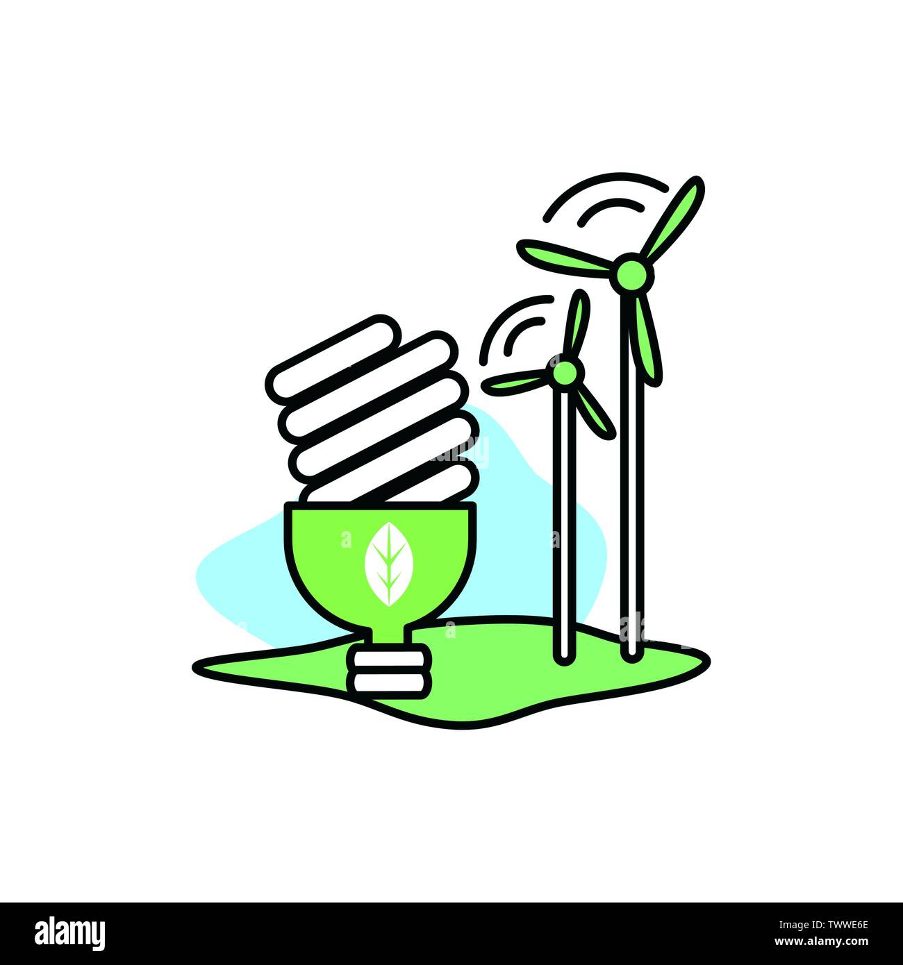 La conception de l'ampoule, la durabilité écologique et renouvelable écologie recyclage vert thème solution Vector illustration Photo Stock