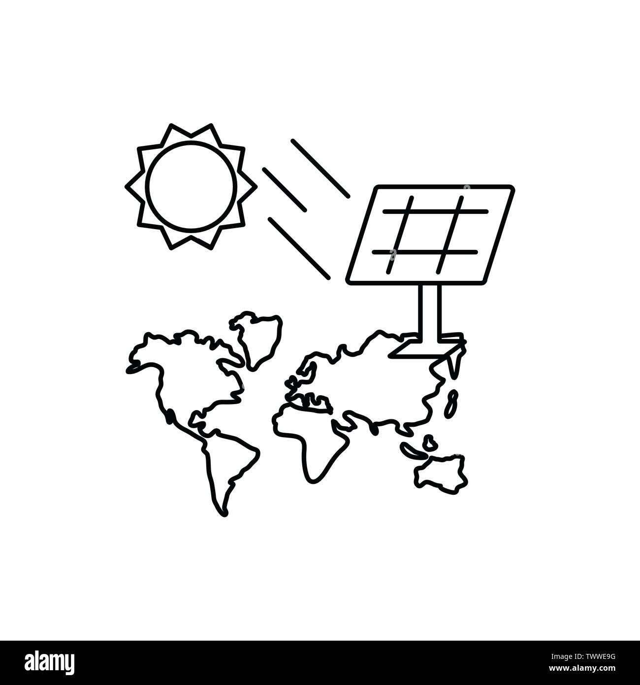 Soleil et panneau solaire conception, durabilité écologique et renouvelable écologie recyclage vert thème solution Vector illustration Photo Stock