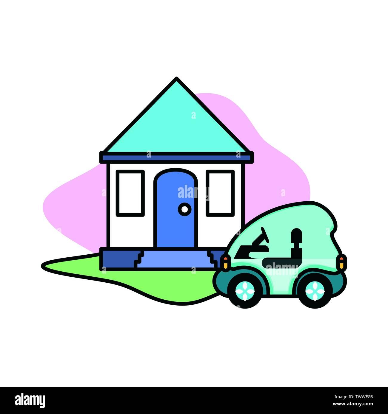 Voiture et maison & design, Eco city sauver la planète penser vert et de recyclage thème Vector illustration Photo Stock