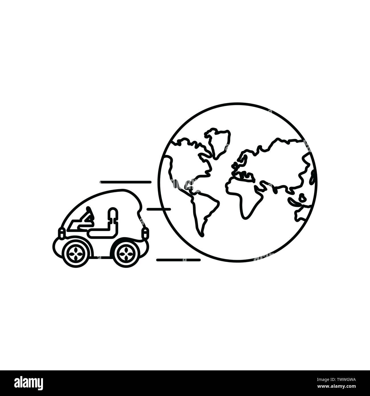 Voiture et planet Design, Eco city sauver la planète penser vert et de recyclage thème Vector illustration Photo Stock