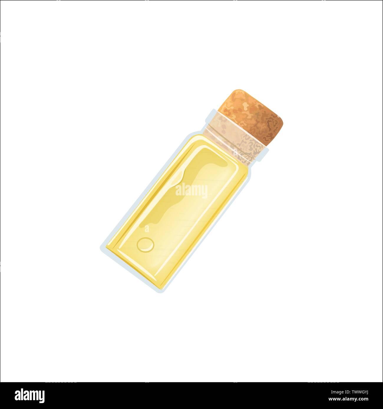 Huile jaune flacon vide avec du liège, bloc de glace parfum flacon blanc, bouteille, flacon de médicaments, jar. Pour les médicaments, pilules, médicaments, aromathérapie, cosmétiques, Photo Stock