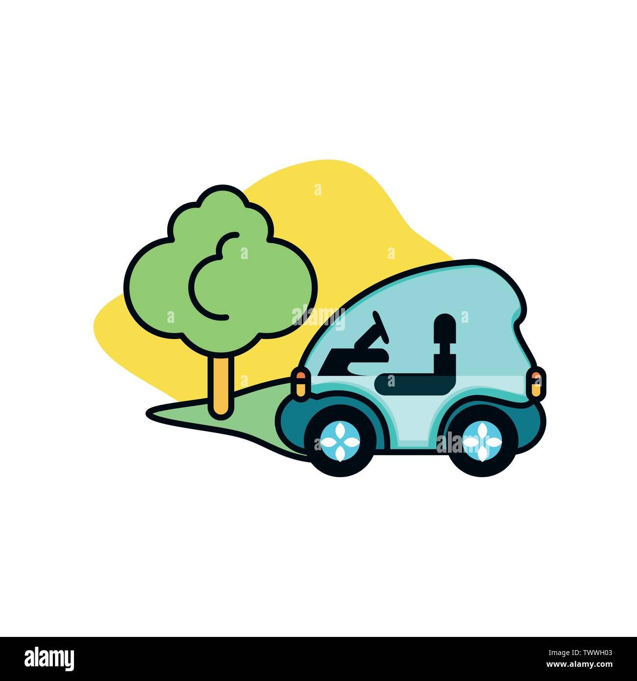 Voiture et tree Design, Eco city sauver la planète penser vert et de recyclage thème Vector illustration Photo Stock