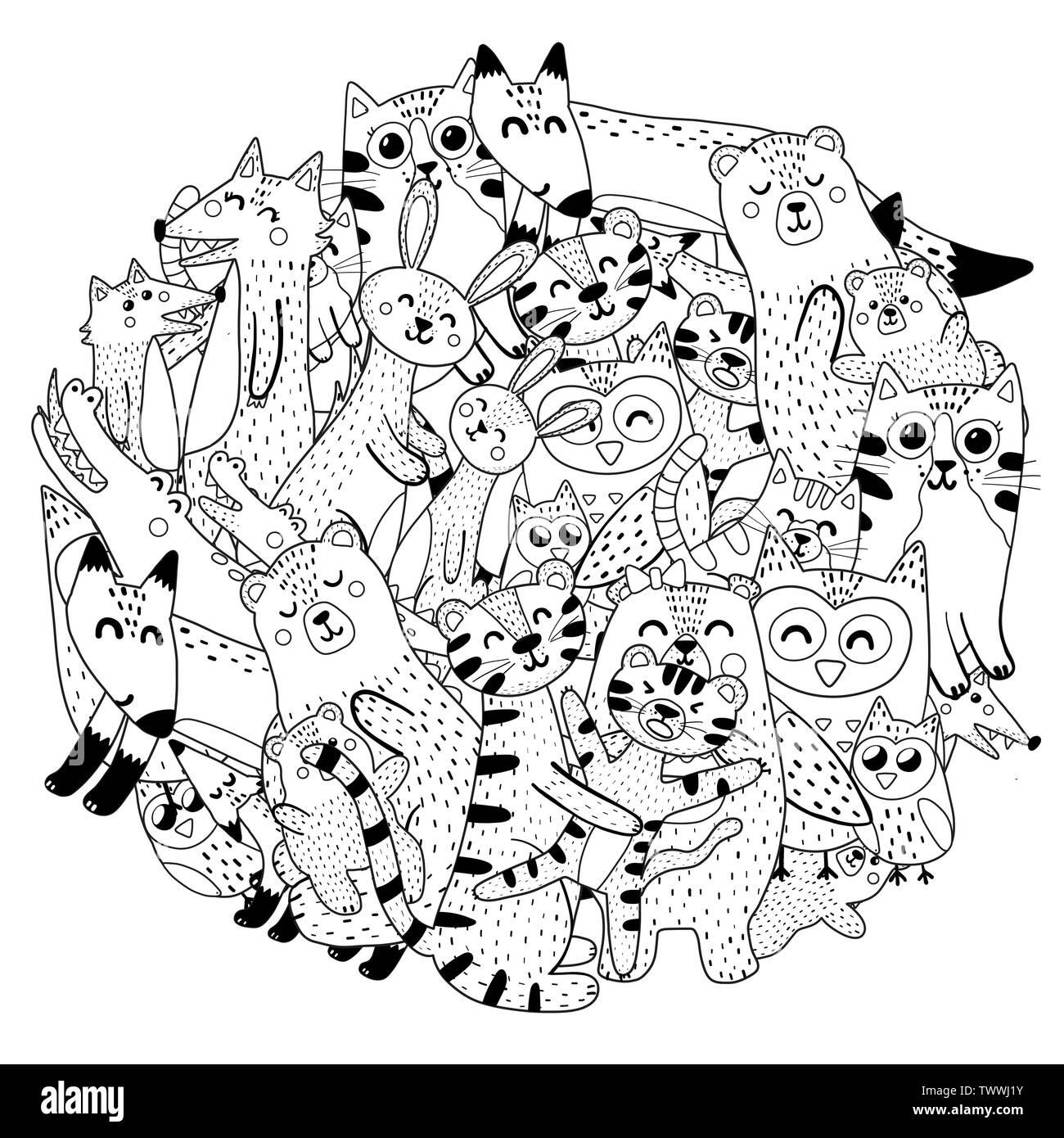 Circle Coloriage Avec Les Meres Et Leurs Bebes Animaux Vector Illustration Image Vectorielle Stock Alamy