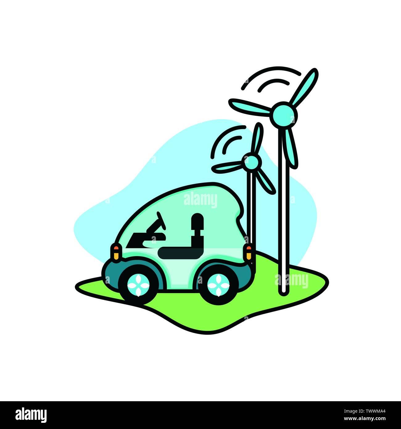 Moulin à vent et en voiture, l'éco conception ville sauver la planète penser vert et de recyclage thème Vector illustration Photo Stock