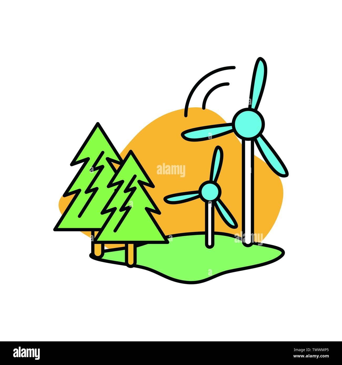 Moulin à vent conception, durabilité écologique et renouvelable écologie recyclage vert thème solution Vector illustration Photo Stock