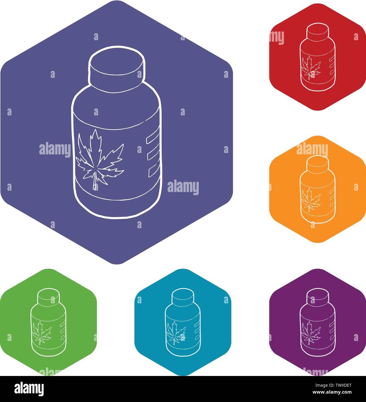 Marijua médical icônes de l'hexaèdre vecteur bouteille Photo Stock
