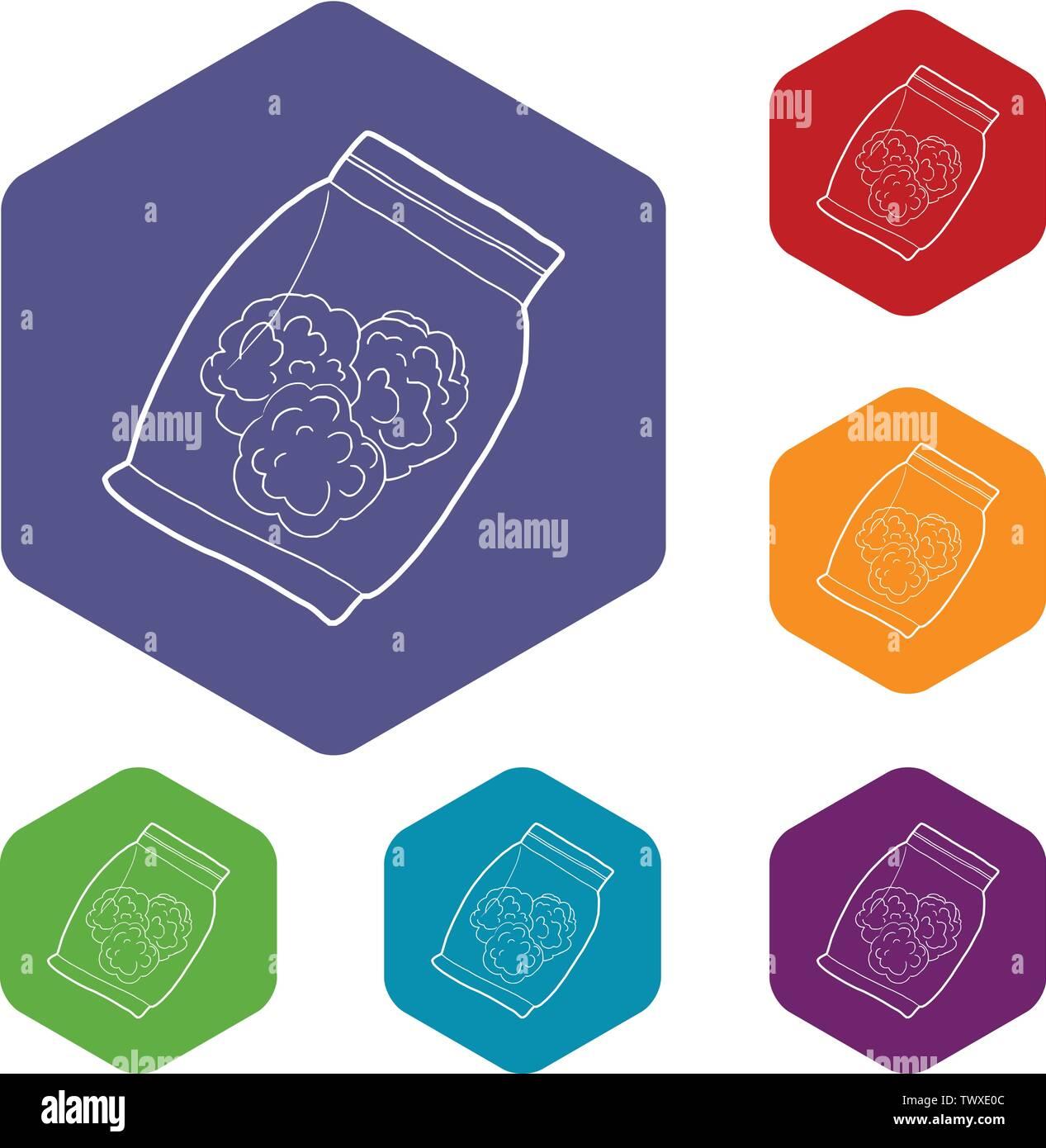 Petit sac avec des bourgeons de marijuana médicale de l'hexaèdre vecteur icônes Photo Stock