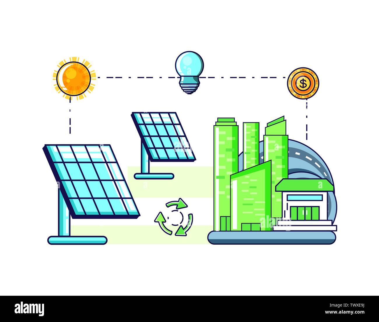 La conception de l'équilibre, la durabilité écologique et renouvelable écologie recyclage vert thème solution Vector illustration Photo Stock