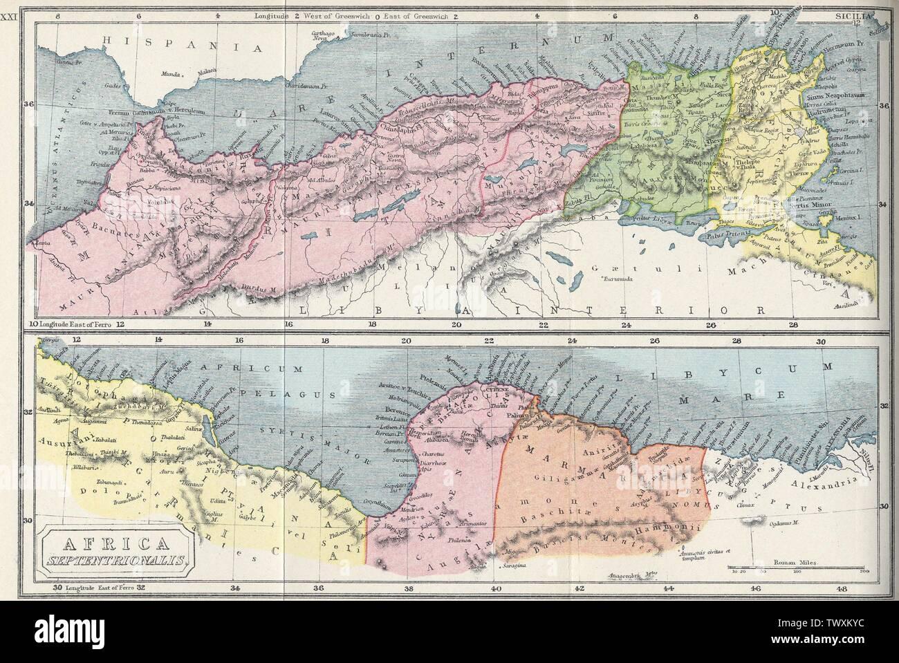 'Deutsch: Nordafrika dans der Antike Anglais: l'Afrique dans l'époque romaine (2e siècle). La carte du haut montre: Mauritanie (rouge), la Numidie (vert), en Afrique (jaune); la dernière carte montre la Tripolitaine (jaune), la Cyrénaïque / la Pentapole (rouge) et de Marmarica (orange).; 1907; http://www.gutenberg.org/files/17124/17124-h/17124-h.htm; Samuel Butler (1774-1839) Noms alternatifs Samuel Butler (maître) Description La prêtre, érudit et écrivain classique Date de naissance/Décès 30 Janvier 1774 4 décembre 1839 Lieu de naissance/décès Kenilworth Autorité Shrewsbury contr Photo Stock