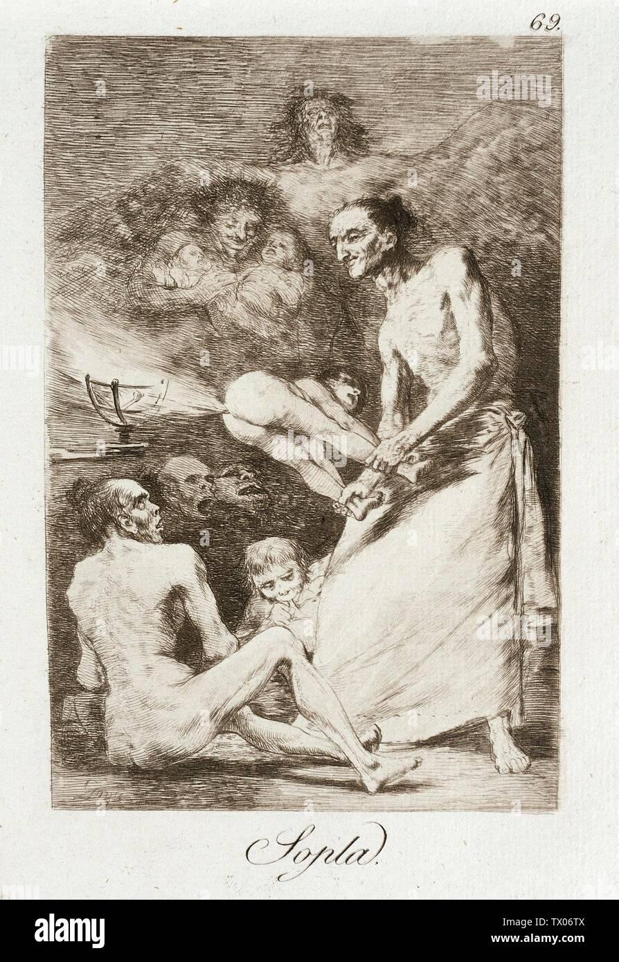 Coup; Espagne, 1799 alternative Sopla Portfolio: Los Caprichos plate: 69 impressions; etchings Etching, aquatint, point sec et plaque de burin: 8 1/4 x 5 15/16 in. (20,96 x 15,08 cm) ; tapis 19 x 14 po. (48,26 x 35,56 cm) Paul Rodman Mabury Trust Fund (63,11,69) tirages et dessins; 1799 date QS:P571,+1799-00-00T00:00:00Z/9; Banque D'Images