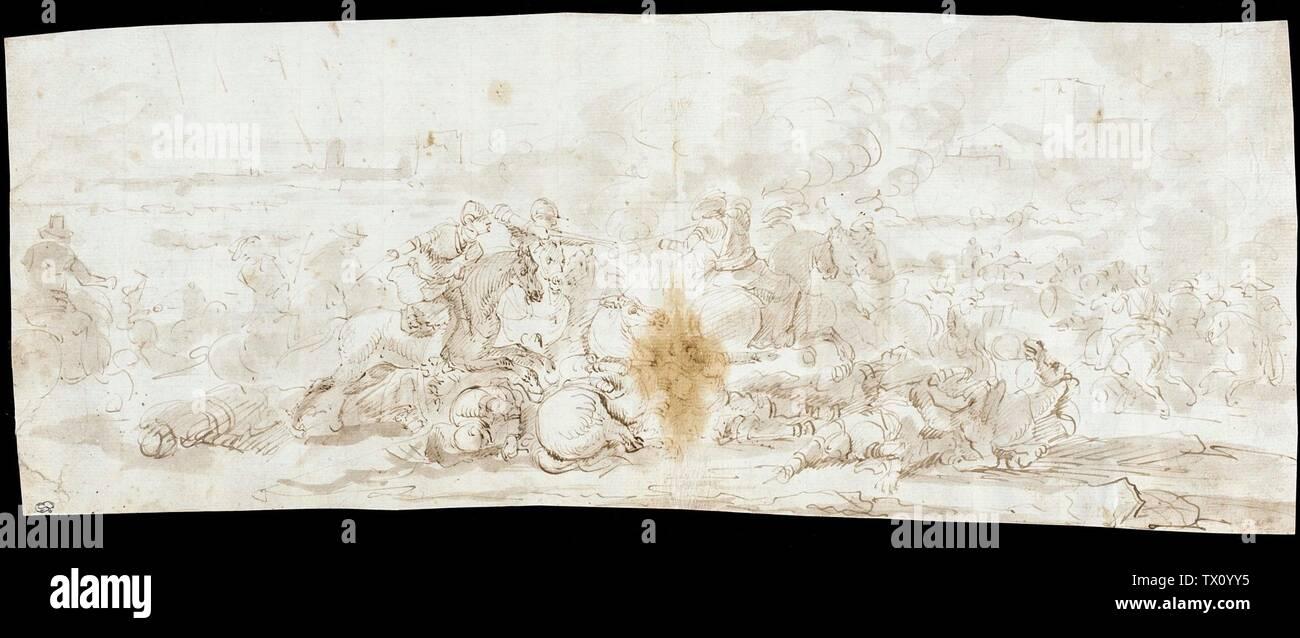 """""""Bataille de cavalerie; français: France, circa 1646 Dessins encre brune et lavis sur les traces de craie rouge Don de M. et Mme Z. Werner Hirsch (M.77.94.1) Estampes et dessins; années 1646 QS date:P571,+1646-00-00T00:00:00Z/9,P1480,Q5727902; ' Photo Stock"""