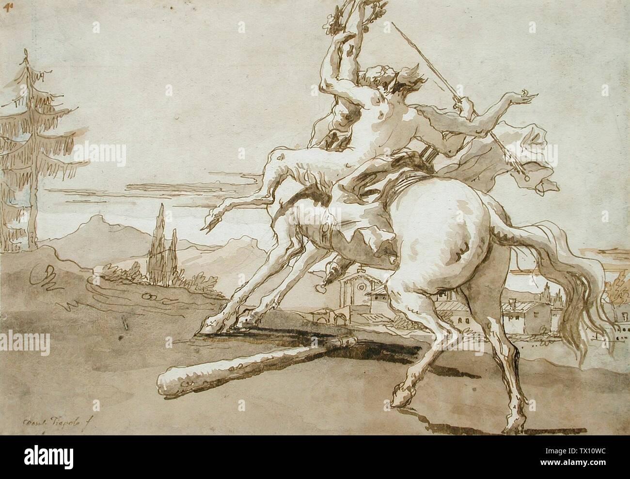 Centaur 'Arrêté en vol, une femelle Faun sur son dos; Italie, circa 1759-1791 Dessins encre brune et lavis sur feuille noire: 7 5/8 x 10 7/8 in. (19,37 x 27,62 cm) Los Angeles Comté (65,15) Estampes et dessins; entre 1759 et 1791 circa circa date QS:P571,+1750-00-00T00:00:00Z/7,P1319,+1759-00-00T00:00:00Z/9,P1326,+1791-00-00T00:00:00Z/9,P1480,Q5727902; ' Photo Stock