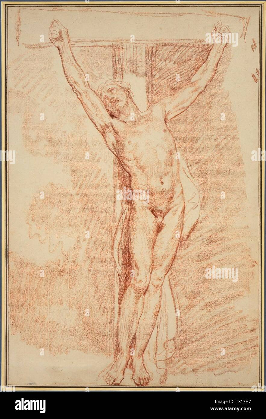 'Le Christ crucifié; français: France, circa 1765 Dessins craie rouge Don de Nelly et Jim Kilroy à travers le Comité des collecteurs 1990 (AC1997.227.1) Estampes et dessins; années 1765 QS date:P571,+1765-00-00T00:00:00Z/9,P1480,Q5727902; ' Photo Stock