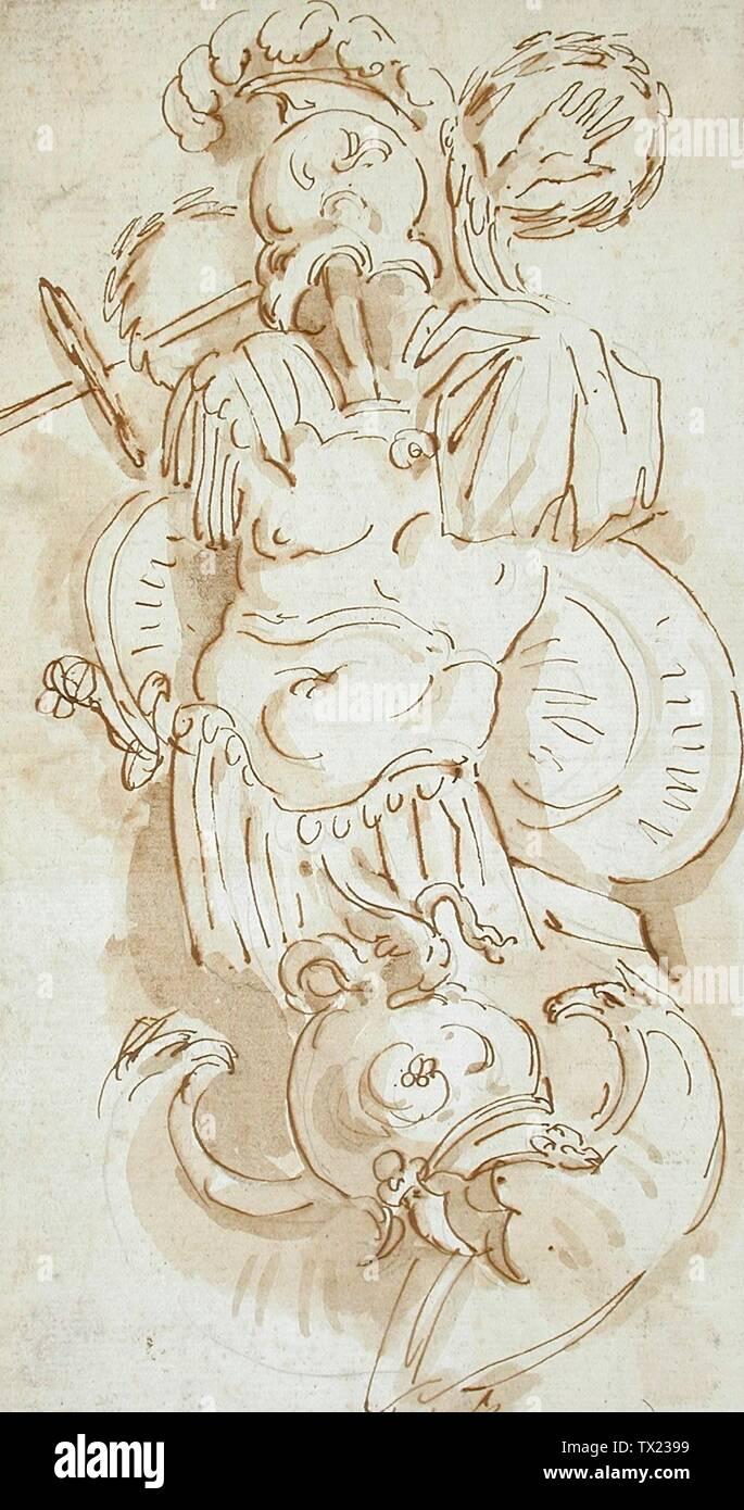 """""""Design pour un trophée d'armes romaines; Anglais: Angleterre, vers 1780-1790) Dessins craie noire, plume et encre brune, lavis et 9 3/4 x 5 1/4 in. (24,77 x 13,34 cm) Don de Laurie et Peter Fusco (AC1998.240.3) Estampes et dessins; entre vers 1780 et vers 1790 QS date:P571,+1750-00-00T00:00:00Z/7,P1319,+1780-00-00T00:00:00Z/9,P1326,+1790-00-00T00:00:00Z/9,P1480,Q5727902; ' Photo Stock"""