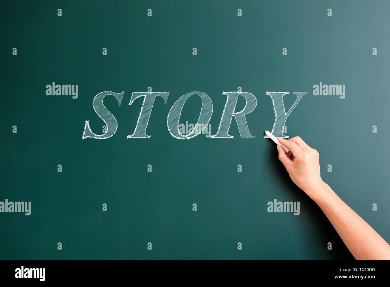 Histoire écrite sur le tableau noir Photo Stock