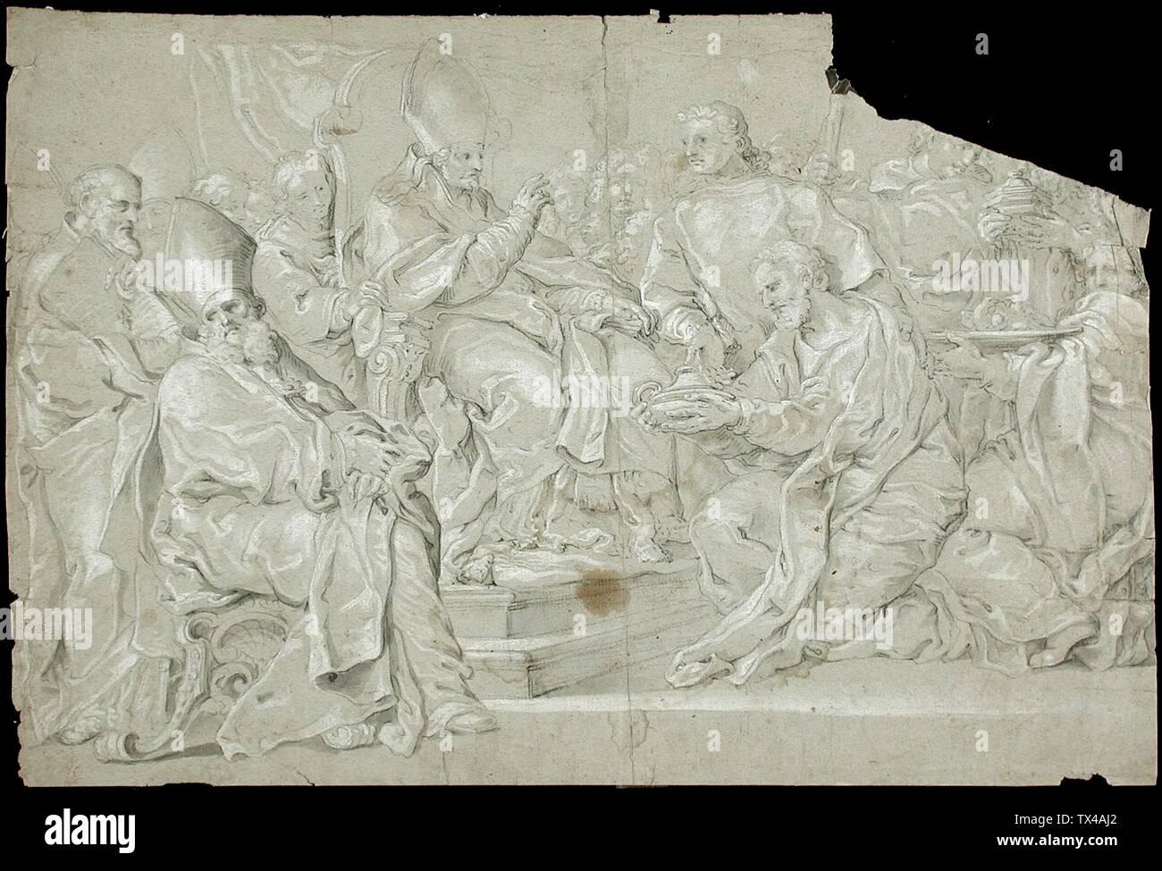 'Les cadeaux offerts à un Prélat assis; Anglais: Pays-Bas (?), 17e siècle (?) Les dessins à la craie noire et blanche gouache sur papier vert Don d'Alfred et Esther Norris (M.83.318.86) Estampes et dessins; 17e siècle (?); ' Photo Stock