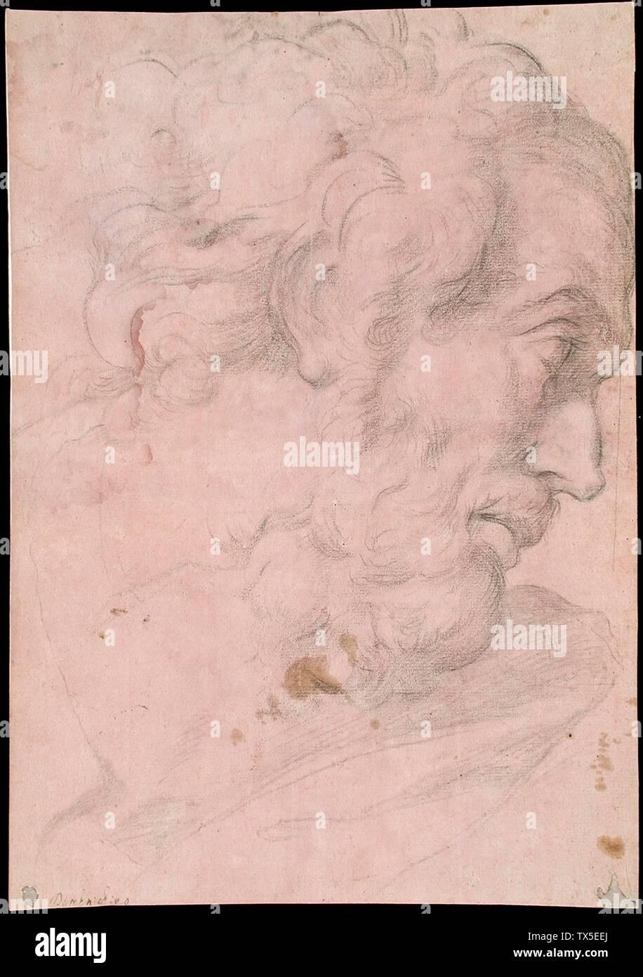 """""""Tête d'un homme barbu; Anglais: Italie, 1596-1641 Dessins craie noire sur papier préparé rose/mauve, prévue pour le don de M. et Mme Henry Blanke (M.72.124.6) Estampes et dessins; entre 1596 et 1641:P571 QS date,+1500-00-00T00:00:00Z/6,P1319,+1596-00-00T00:00:00Z/9,P1326,+1641-00-00T00:00:00Z/9; ' Photo Stock"""