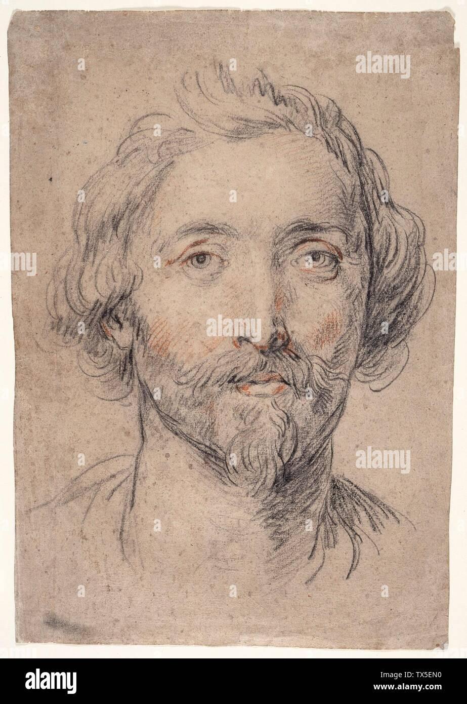 """""""Tête d'un homme [Nicholas Lanier?]; Anglais: Italie, circa 1625-1630 dessins de craie rouge et noir sur les feuilles de papier gris: 16 1/2 x 11 1/2 in. (41,91 x 29,21 cm) Don du 1993 Collectors Committee (AC1993.21.1) Estampes et dessins; entre vers 1625 et vers 1630 QS date:P571,+1650-00-00T00:00:00Z/7,P1319,+1625-00-00T00:00:00Z/9,P1326,+1630-00-00T00:00:00Z/9,P1480,Q5727902; ' Photo Stock"""