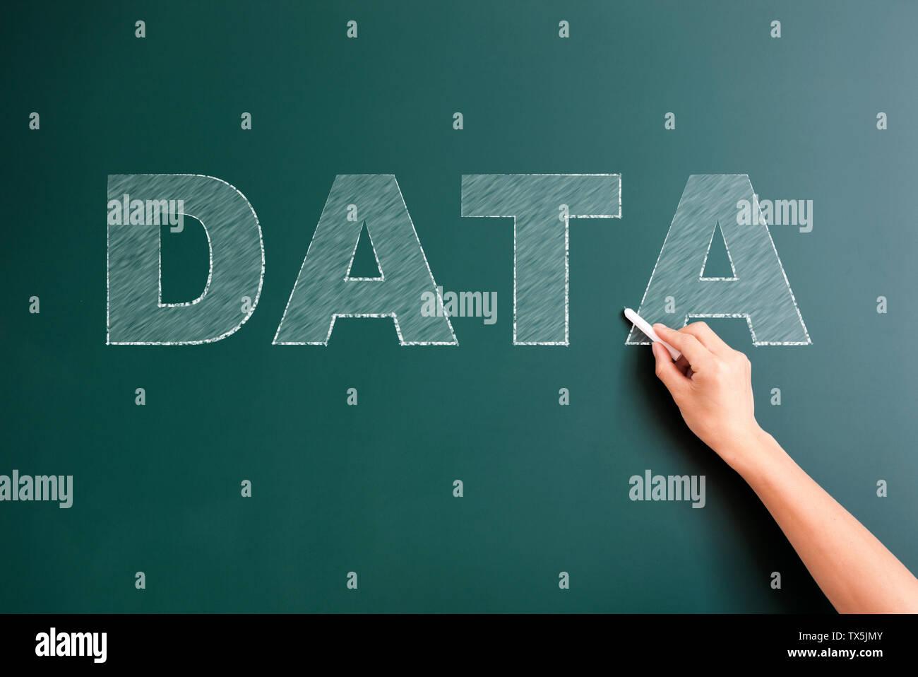 Les données écrites sur tableau noir Photo Stock