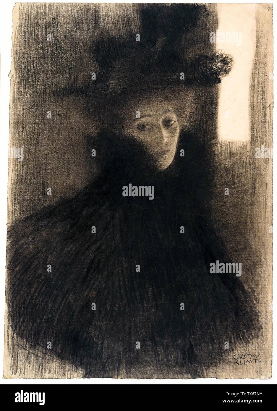 Gustav Klimt, Portrait d'une dame avec cape et chapeau, dessin, vers 1897 Photo Stock