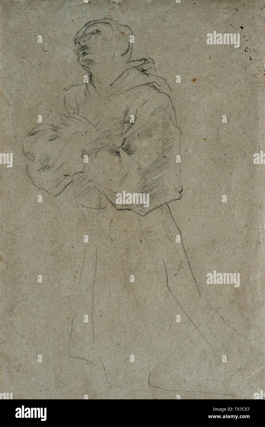 """""""Moine agenouillé; Anglais: Italie, circa 1620-1625 Dessins craie noire sur papier bleu-gris Don de Oscar et Maria Salzer (46,51.3) Estampes et dessins; entre 1620 et 1625 circa circa date QS:P571,+1620-00-00T00:00:00Z/8,P1319,+1620-00-00T00:00:00Z/9,P1326,+1625-00-00T00:00:00Z/9,P1480,Q5727902; ' Photo Stock"""