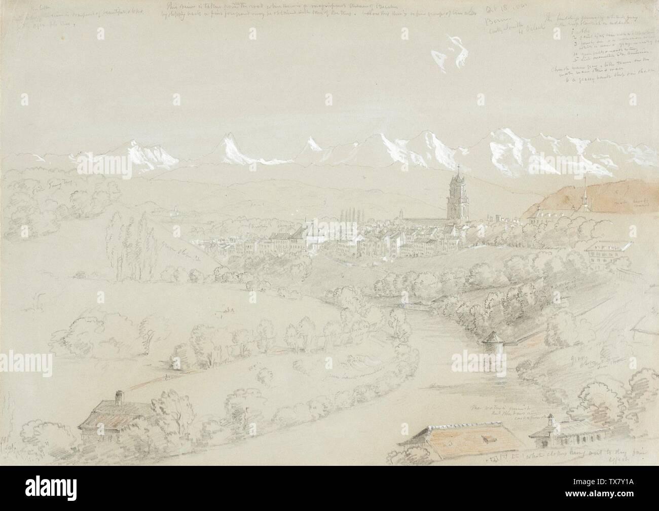 'Paysage avec vue de Berne; Anglais: United States, Octobre 18, 1841 Dessins Crayon et gouache blanche avec des touches de craie rouge sur une feuille de papier gris-vert: 10 1/2 x 14 1/2 in. (26,67 x 36,83 cm) don anonyme en mémoire de Margaret Badenoch Conkling (Mme. P. Roscoe Conkling) (M.73.137.1) Estampes et dessins; 1841QS date:P571,+1841-00-00T00:00:00Z/9; ' Photo Stock