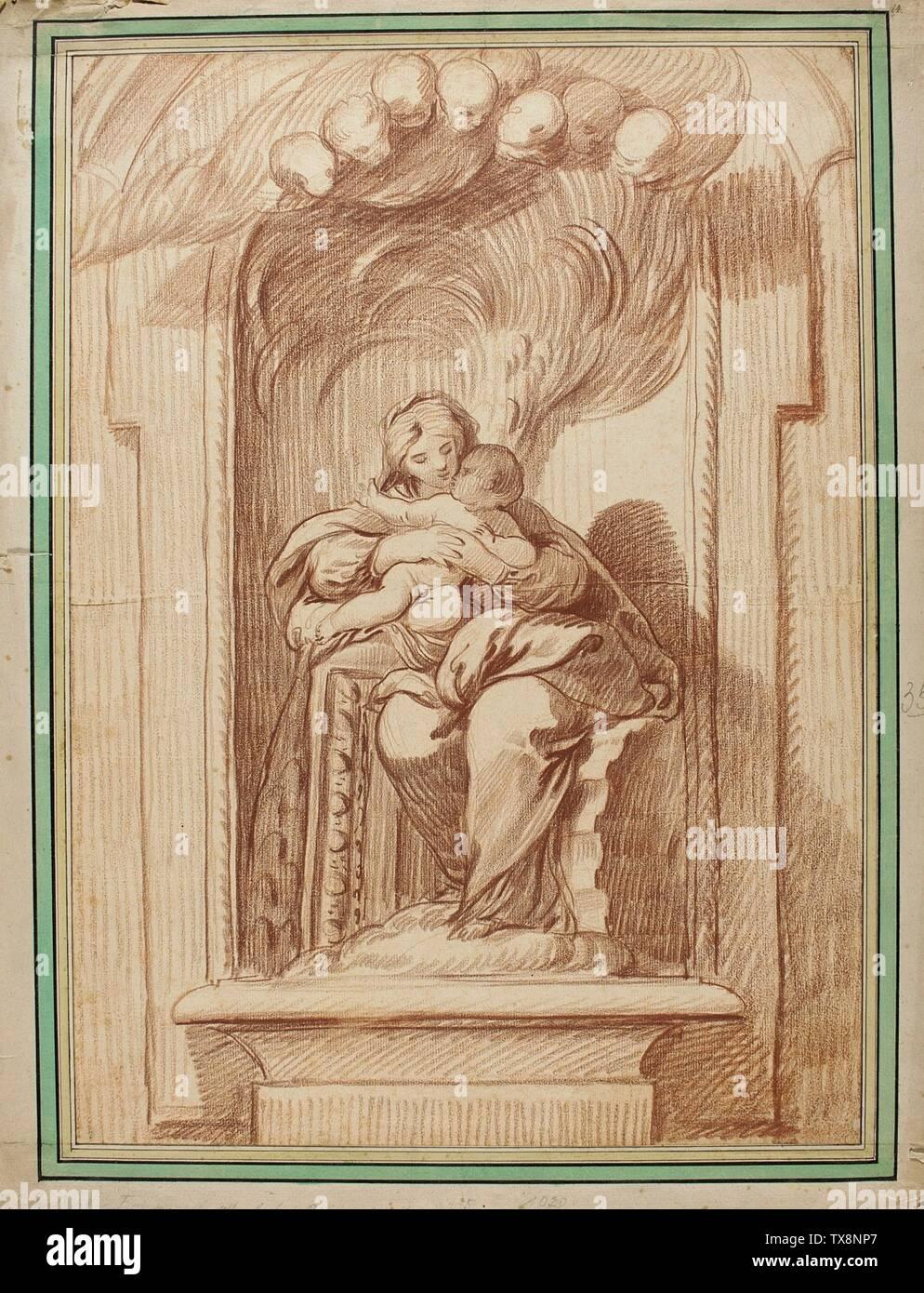 'Madonna et enfant assis dans une niche; français: France, 18e siècle dessins craie rouge sur papier, prévue pour le don de Alfred et Esther Norris (M.83.318.39) Estampes et dessins; date du 18ème siècle QS:P571,+1750-00-00T00:00:00Z/7; ' Photo Stock