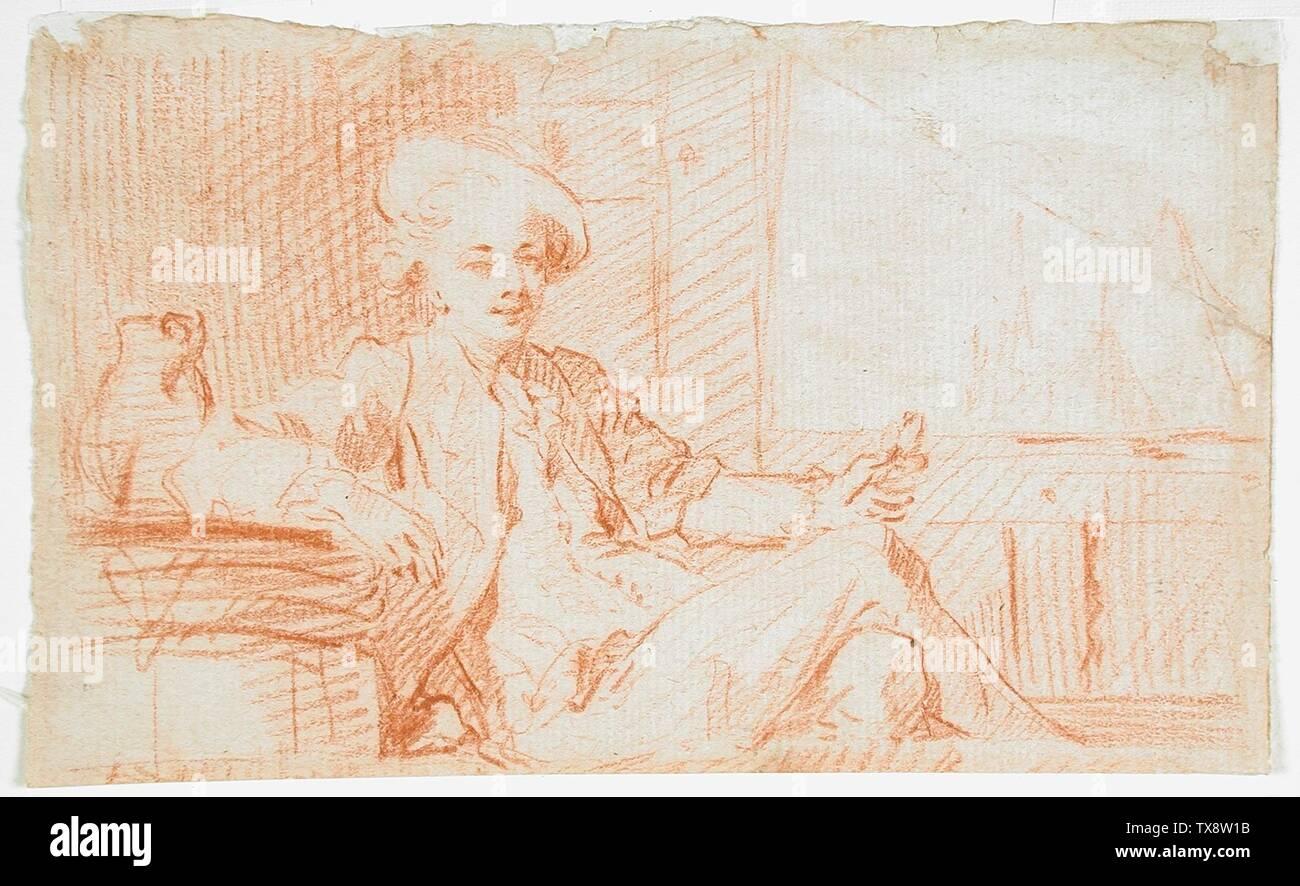 """""""L'homme tenant un bouton de rose; français: France, 18e siècle Don de craie rouge Dessins Mary Stansbury Ruiz (M.85.310.3) Estampes et dessins; date du 18ème siècle QS:P571,+1750-00-00T00:00:00Z/7; ' Photo Stock"""
