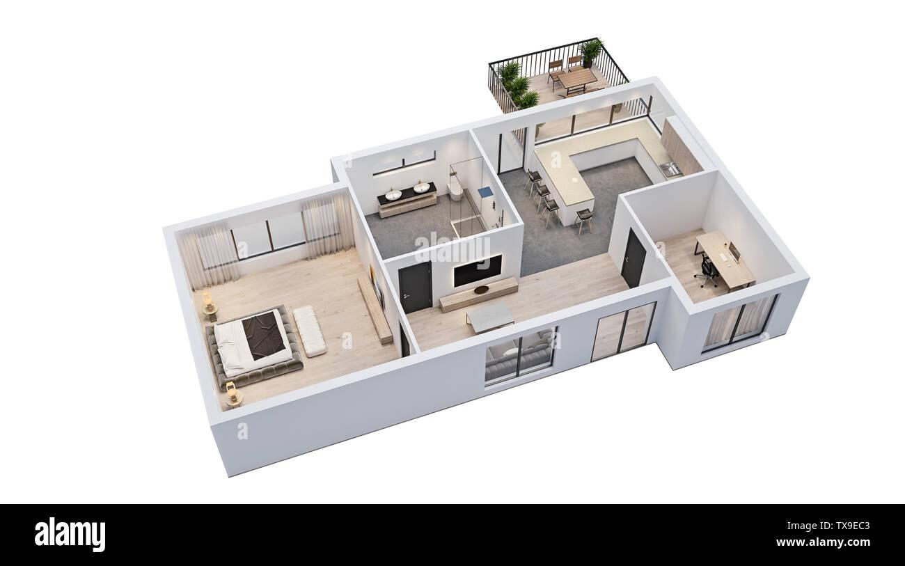 Design Interieur Moderne Plan D Etage Isole Avec Des Murs Blancs Un Schema D Appartement Maison Meubles Isometriques Vue En Perspective Rendu 3d Photo Stock Alamy