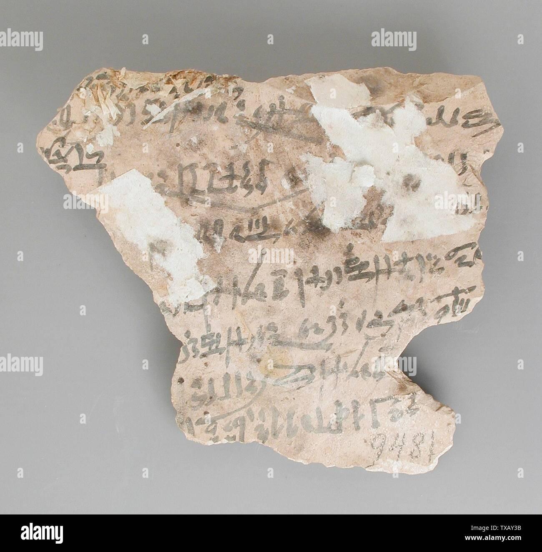 """L'enregistrement des livraisons """"Ostracon économique de paniers, des sandales, et d'autres produits (image 2 de 2); l'Égypte, Nouvel Empire, début du xxe dynastie (1200 - 1150 avant notre ère) Outils et équipement; calcaire ostraka 5 1/8 x 5 11/16 in. (13 x 14,5 cm Don de Carl W. Thomas (M.80.203.189) L'art égyptien; début de la 20e dynastie (1200 - 1150 avant notre ère); ' Photo Stock"""