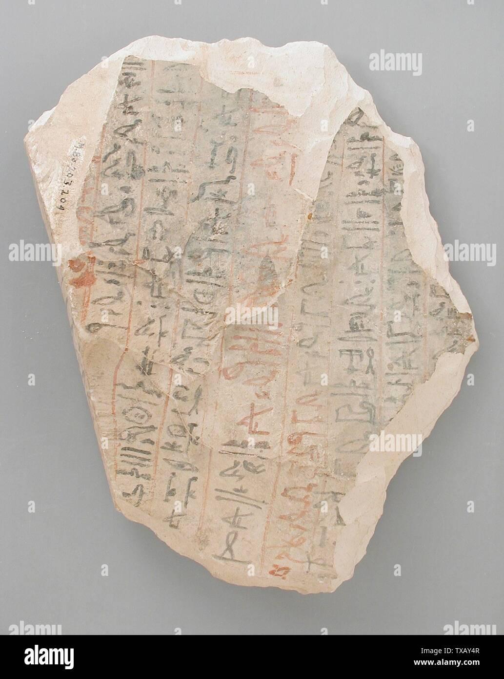 """'Ostracon avec la partie du texte littéraire """"l'Instruction du Roi Amenemhat' (image 1 de 2); l'Égypte, Nouvel Empire, 19e et 20e dynastie (1315 - 1081 avant notre ère) Outils et équipement; calcaire ostraka 7 x 4 3/4 in. (17,8 x 12,1 cm) Don de Carl W. Thomas (M.80.203.204) L'art égyptien; 19e et 20e dynastie (1315 - 1081 avant notre ère); ' Photo Stock"""