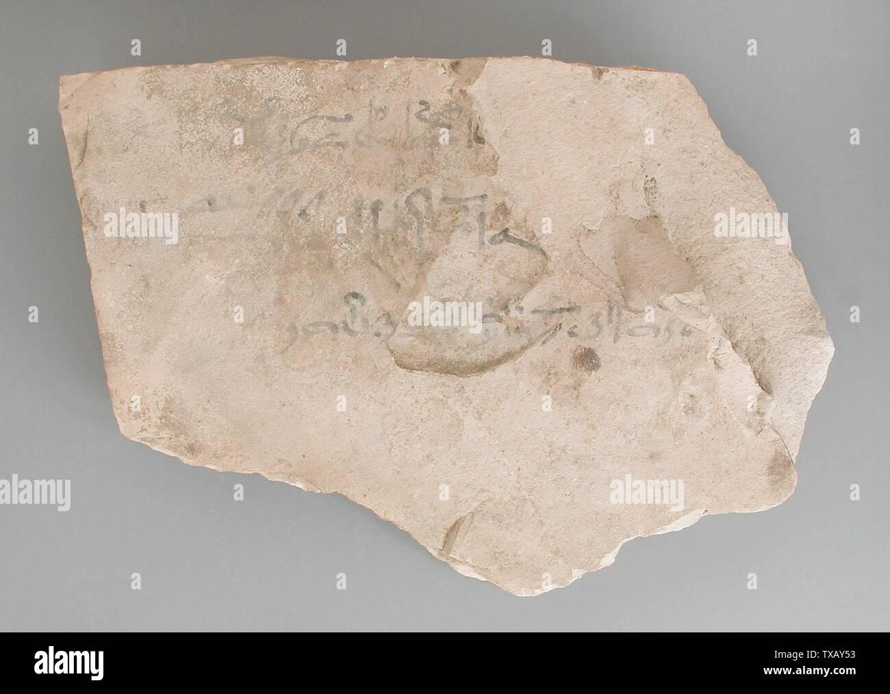 'Ostracon avec partie de l 'enseignement d'Amenemhat'; l'Égypte, Nouvel Empire, 19e et 20e dynastie (1315 - 1081 avant notre ère) Outils et équipement; calcaire ostraka 6 1/8 x 8 1/4 in. (14,5 x 21 cm) Don de Carl W. Thomas (M.80.203.203) L'art égyptien; 19e et 20e dynastie (1315 - 1081 avant notre ère); ' Photo Stock