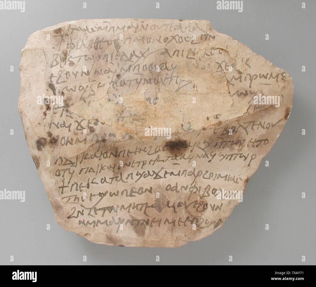 Avec l'inscription 'Ostracon copte; Anglais: Egypte, période copte (500 - 1000 Ce matériel et d'outils); Don de calcaire ostraka Carl W. Thomas (M.80.203.221) L'art égyptien; période copte (500 - 1000); ' Photo Stock