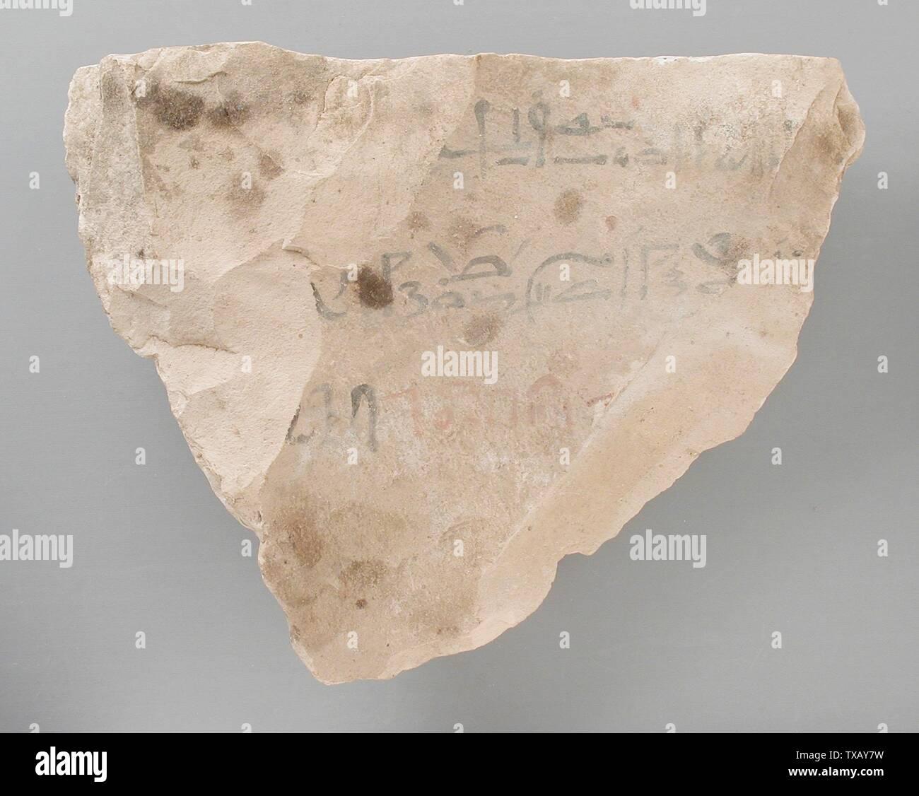 'Ostracon avec le début du texte littéraire 'Instruction d'Amenemhat'; l'Égypte, Nouvel Empire, 19e dynastie (1315 - 1081 avant notre ère) Outils et équipement; calcaire ostraka 4 1/2 x 5 9/16 in. (11,4 x 14,2 cm Don de Carl W. Thomas (M.80.203.201) L'art égyptien; 19e - 20e dynastie (1315 - 1081 avant notre ère); ' Photo Stock
