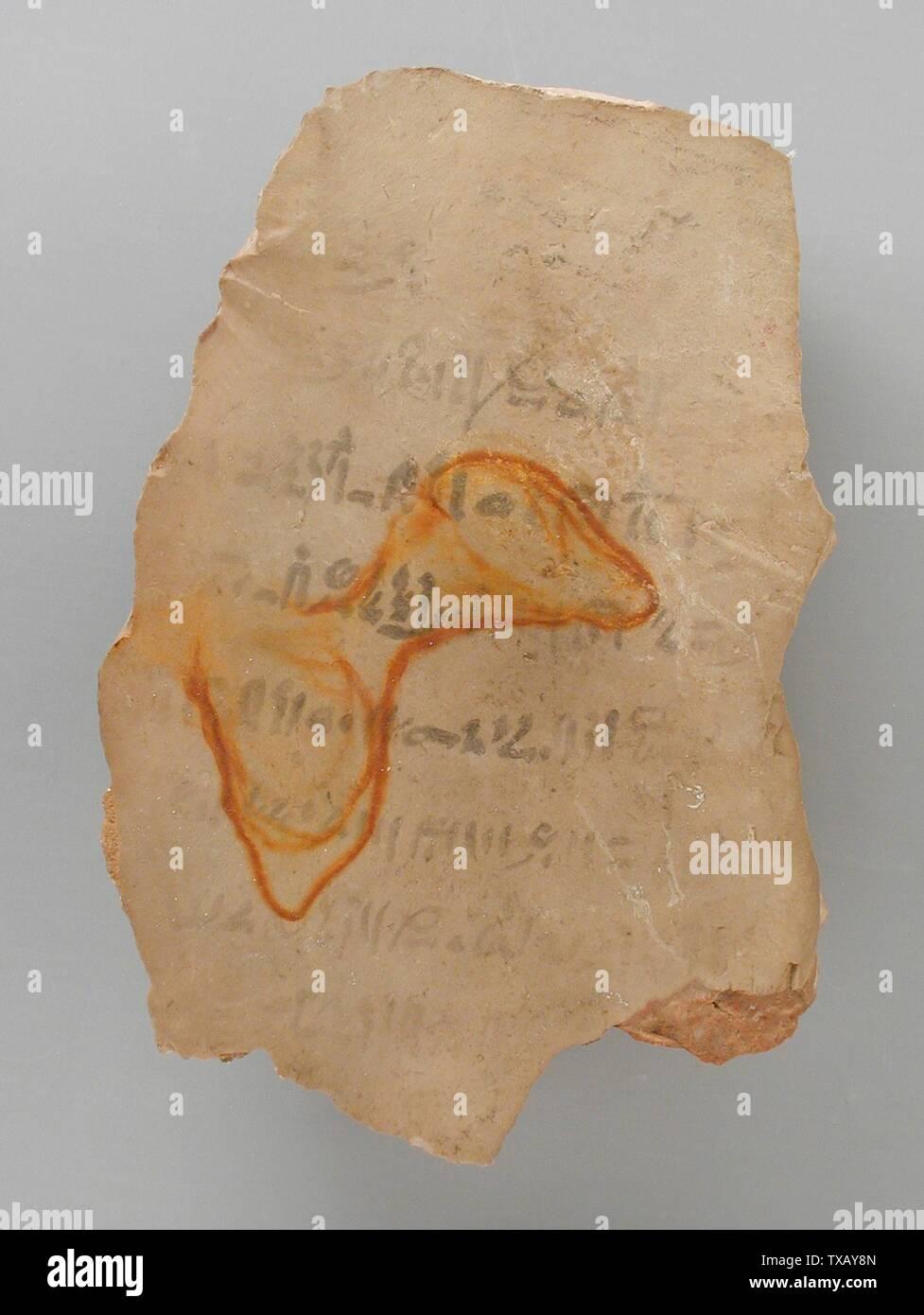 'Ostracon avec dimensions d'une chambre, peut-être une tombe royale; la Haute Égypte, Thèbes, probablement Vallée des Rois, Nouvel Empire, 19e dynastie (1315 - 1201 avant notre ère) Outils et équipement; calcaire ostraka 5 3/4 x 3 5/8 in. (14,6 x 9,2 cm Don de Carl W. Thomas (M.80.203.213) L'art égyptien; 19e dynastie (1315 - 1201 avant notre ère); ' Photo Stock