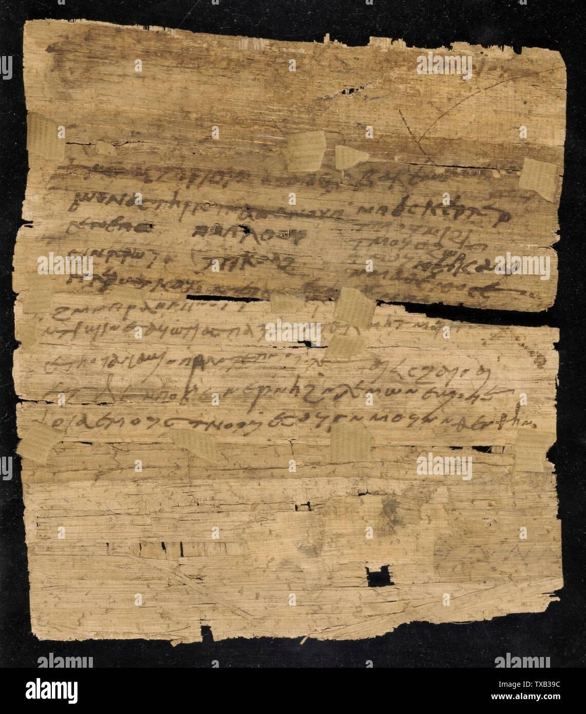 'Page de manuscrit copte (image 1 de 2); Anglais: Égypte, 4ème - 5ème siècle ce manuscrits sur papyrus d'encre Don de William H. Schuchardt (M.48.12); l'art égyptien, 4ème - 5ème siècle de notre ère; ' Photo Stock