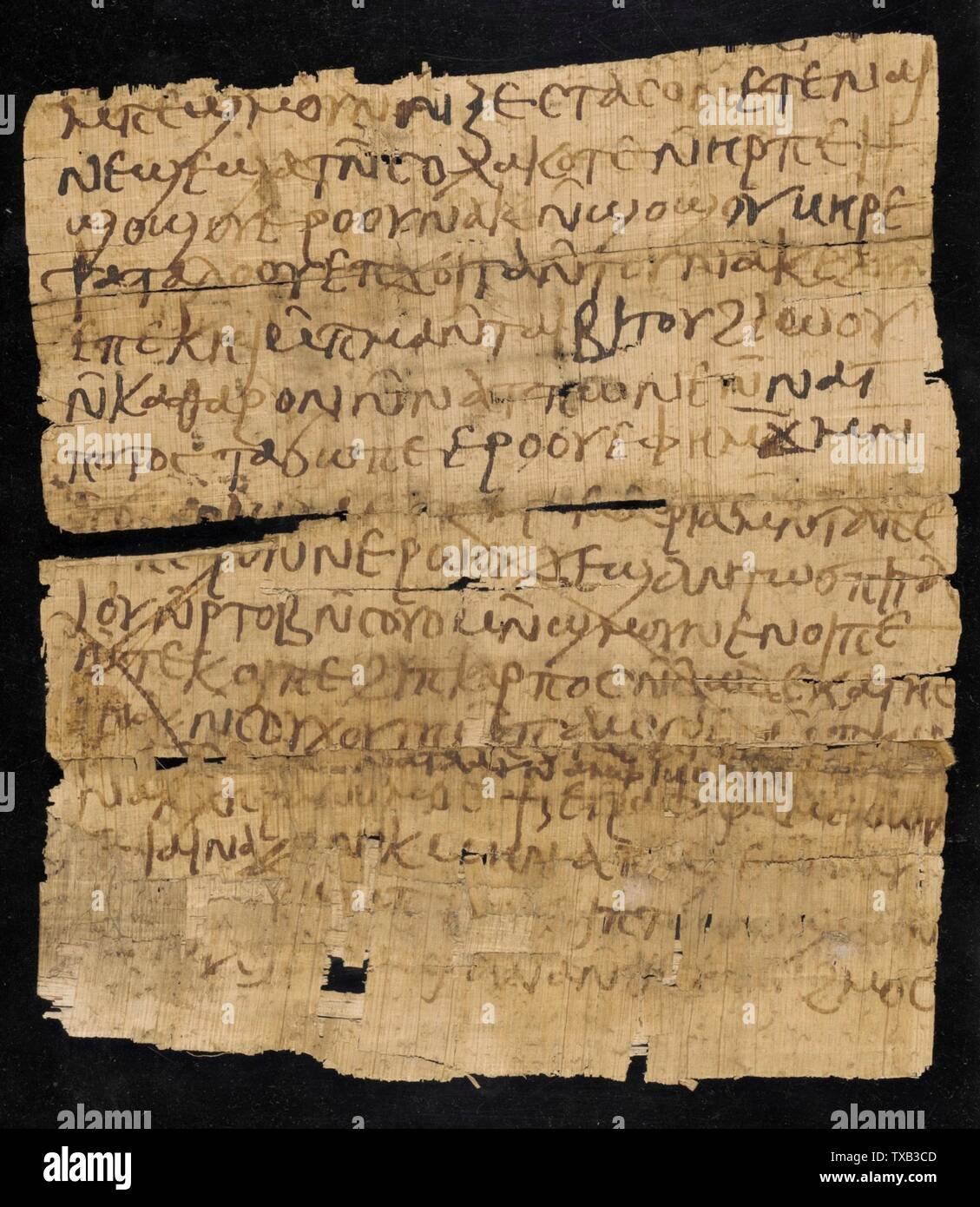 'Page de manuscrit copte (image 2 de 2); Anglais: Égypte, 4ème - 5ème siècle ce manuscrits sur papyrus d'encre Don de William H. Schuchardt (M.48.12); l'art égyptien, 4ème - 5ème siècle de notre ère; ' Photo Stock