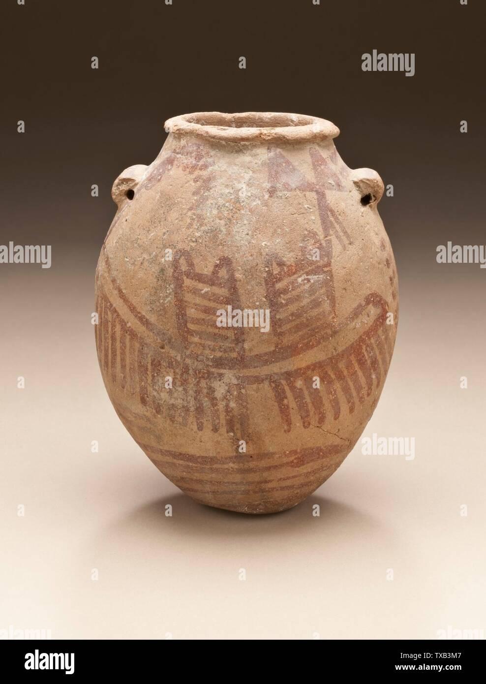 'Pot peint avec des bateaux; Egypte, Naqada II, période 3500-3150 (C.-B.); mobilier céramique Serviceware 4 15/16 x 3 15/16 in. (12,5 x 10 cm) Don de Jerome F. Snyder (M.80.202.41) L'art égyptien; 3500-3150 B.C.; ' Photo Stock