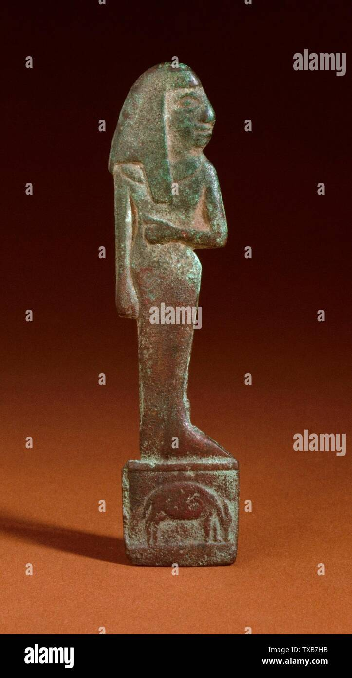 'Panneau représentant une figure féminine; Anglais: l'Egypte, la fin de période (711 - 332 avant notre ère) ou bronze sculpture moderne Hauteur: 4 5/8 po. (11,7475 cm); largeur: 1 1/8 in. (2,9 cm) Don de Robert Blaugrund (M.82.78.12) L'art égyptien; la fin de période (711 - 332 avant notre ère) ou moderne; ' Photo Stock