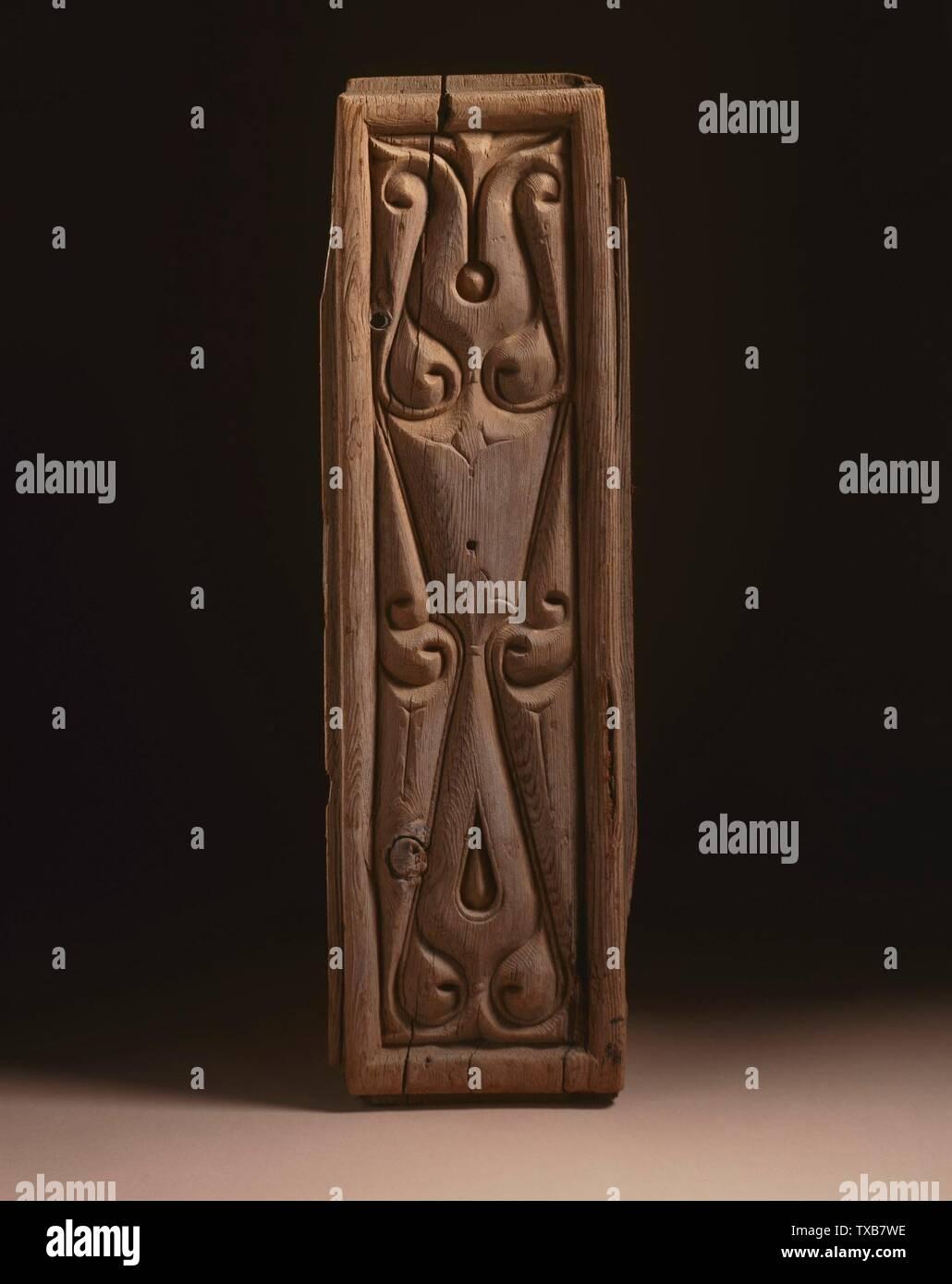 'Panel avec abstract décoration (image 1 de 2); Anglais: Égypte, 9e siècle l'architecture; les éléments architecturaux en bois, sculpté le Nasli M. Heeramaneck, Don de Joan Palevsky (M.73.5.405) L'Art Islamique en ce moment sur la vue du public: Ahmanson bâtiment, étage 4, 9e siècle date QS:P571,+850-00-00T00:00:00Z/7; ' Photo Stock