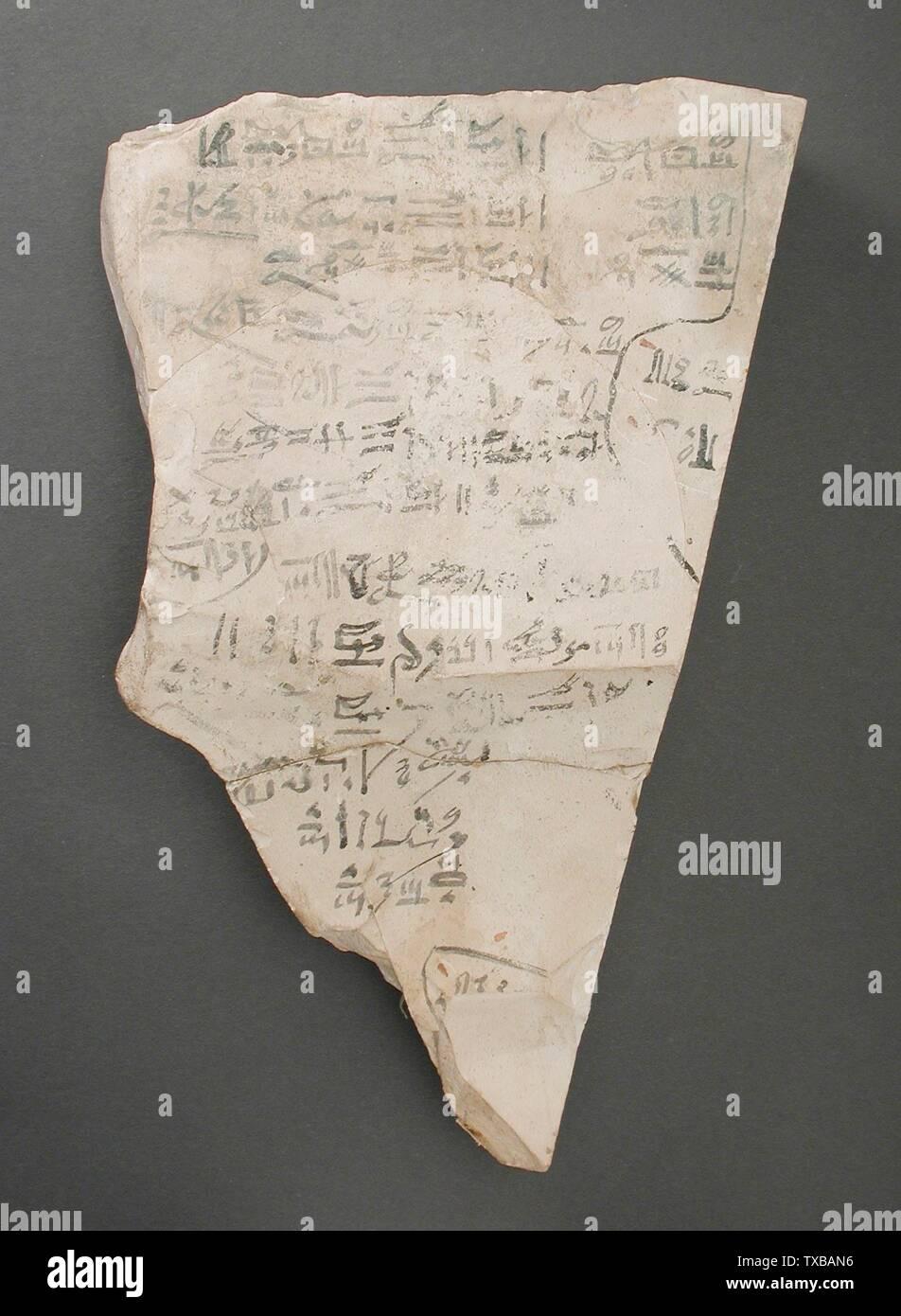'Une partie de la reconstitution d'un Ostracon décrivant le repas rituel unique pour Amen-Re; Egypte, Nouvel Empire, 19e dynastie (1315 - 1081 avant notre ère) Outils et équipement; calcaire ostraka 9 1/4 x 6 in. (23,5 x 15,2 cm) Don de Carl W. Thomas (M.80.203.211) L'art égyptien; 19e - 20e dynastie (1315 - 1081 avant notre ère); ' Photo Stock