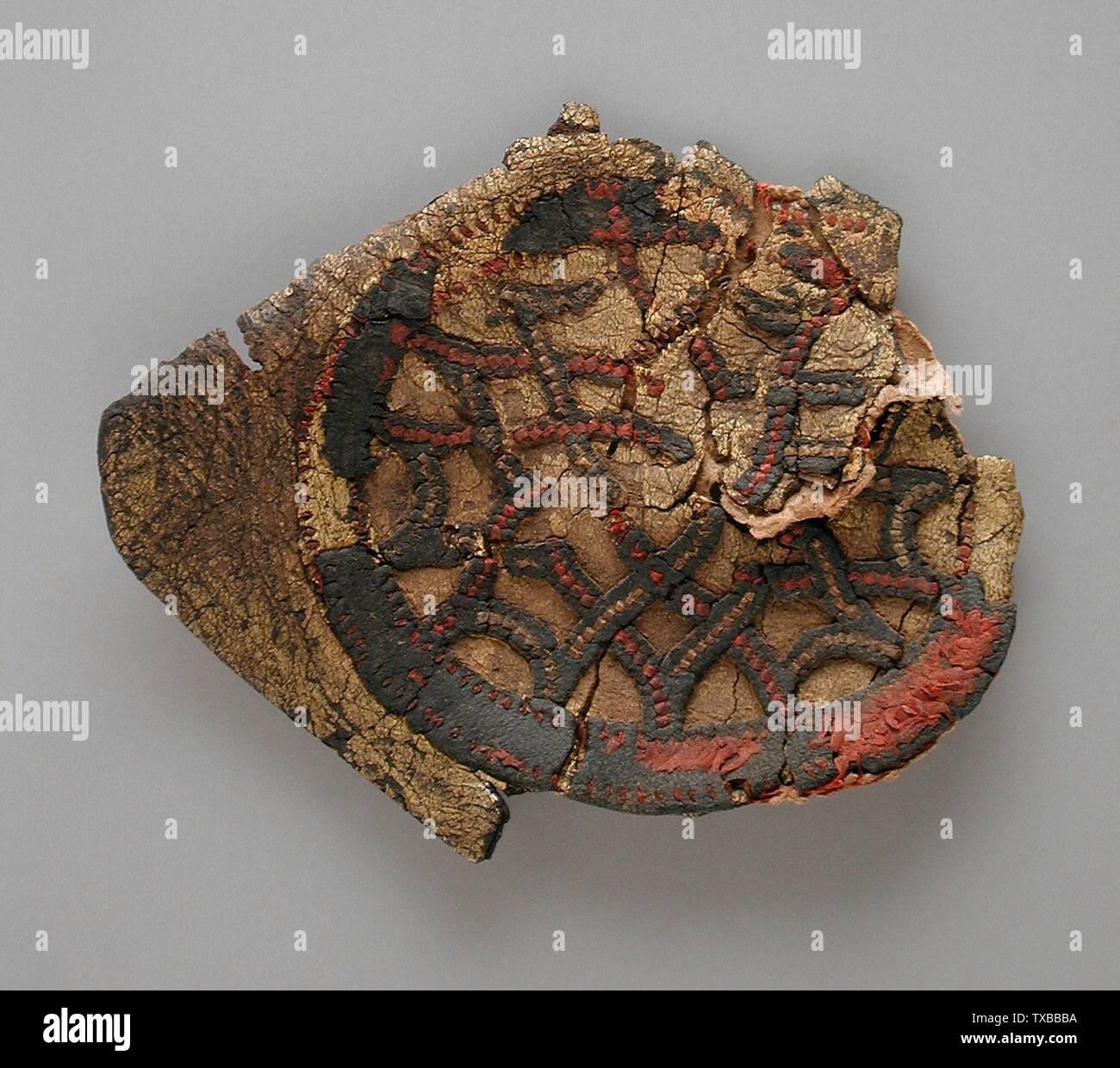 'Patch/appliqué; Anglais: Égypte, probablement la période copte (250 - 650 CE) en cuir, tissus, costumes et doré peinture Don de Jerome F. Snyder (M.80.202.290) L'art égyptien; période copte probablement (250 - 650 CE); ' Photo Stock