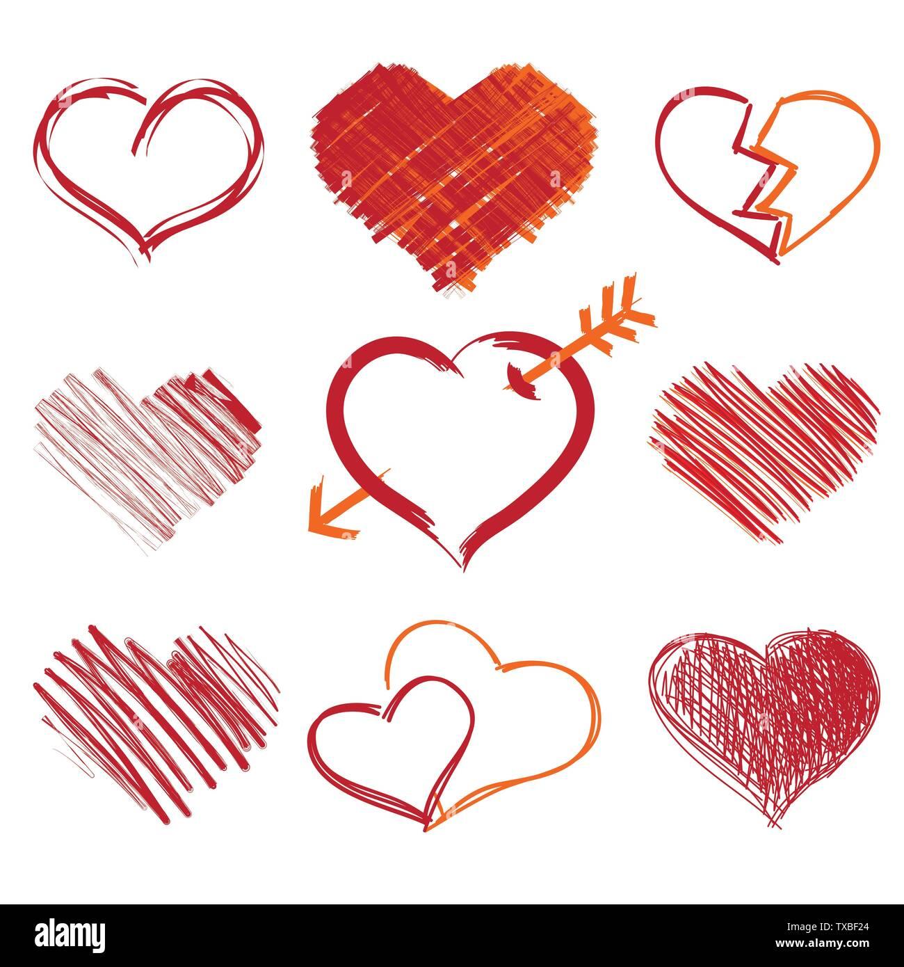 Ensemble de symboles coeur, isolé sur blanc, vecteur. Faites à la main. Photo Stock