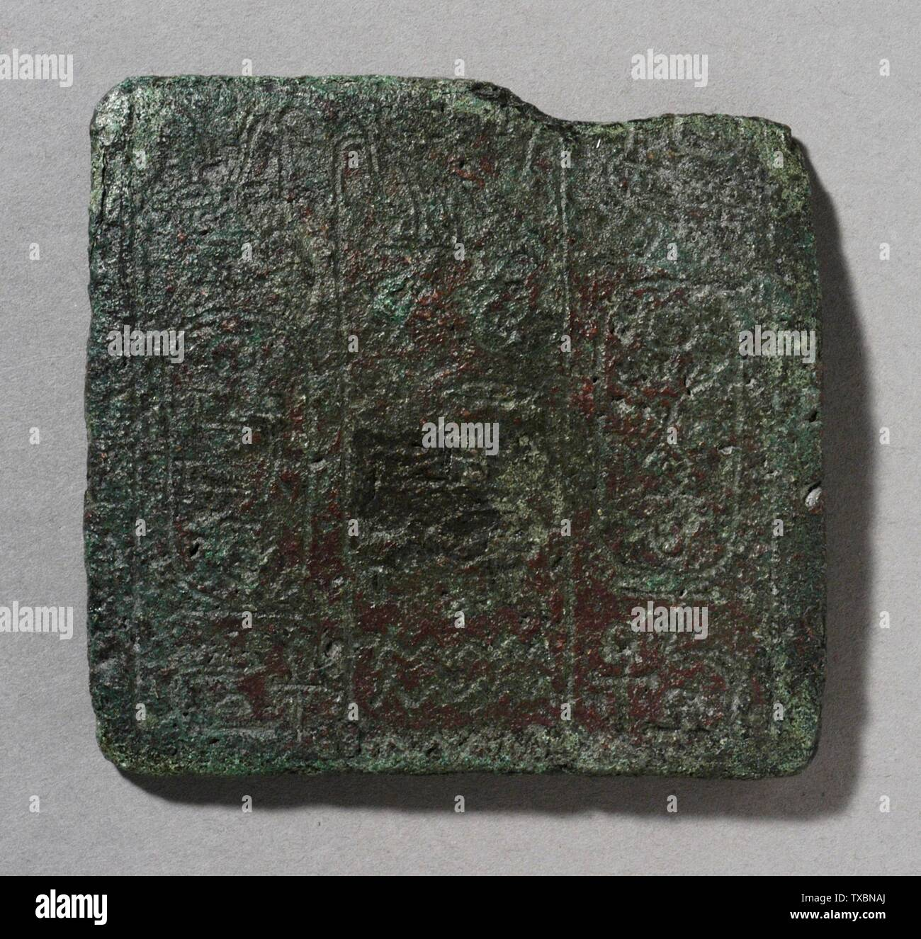 'Plaque avec trône et nom de naissance d'une dynastie 13e roi; l'Égypte, Moyen Empire, 13e dynastie (1700 - 1665) BCE Bronze Sculpture Hauteur: 2 3/4 in. (7,1 cm); largeur: 2 15/16 in. (7,4 cm) Don de Carl W. Thomas (M.80.203.49) L'art égyptien; 13e dynastie (1700 - 1665 avant notre ère); ' Photo Stock