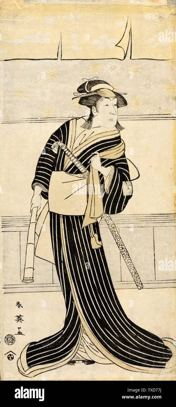 L'acteur Ichikawa Monnosuke II en Rôle féminin; Japon, tirages de la fin du XVIIIe siècle; coupures de bois impression de couleur de bois vue: 12 x 5 3/4 in. (30,48 x 14,61 cm) ; cadre : 18 3/4 x 12 1/2 po. (47,63 x 31,75 cm) Don de George T. et Margaret W. Romani (M. 200 0,42,6) Art japonais; Fin du XVIIIe siècle; Banque D'Images