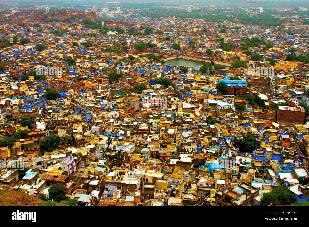 Vue aérienne de la ville bleue, Jodhpur, Rajasthan, Inde, Asie Banque D'Images