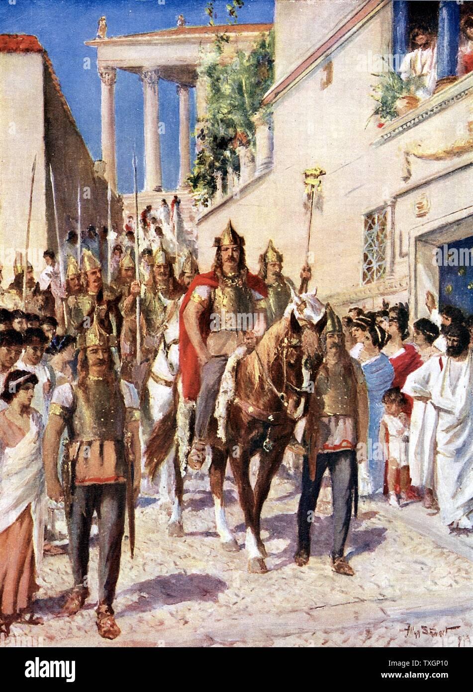 Alaric I (c370-410), roi de Wisigoths de 495, entrant dans Athènes 395. Chef de groupes auxiliaires de Théodose Ier, empereur de l'Est. c.1920. L'illustration, la couleur Photo Stock
