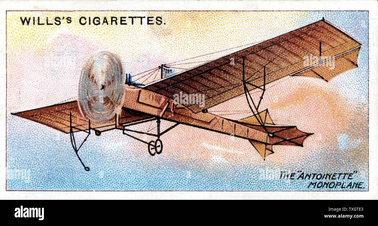Le 'monoplan Antoinette' de Hubert Latham (1883-1912) aviateur français c.1910. Chromolithographie à partir de la série de cartes sur l'aviation Banque D'Images