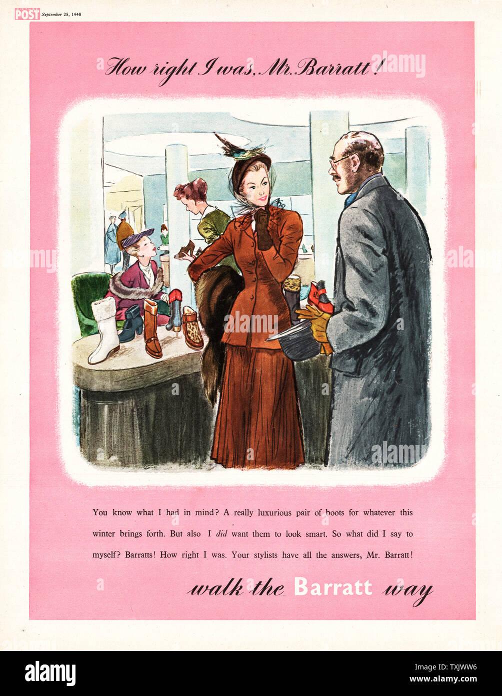 1948 Magazine BRITANNIQUE Barratts Shoes Annonce Banque D'Images